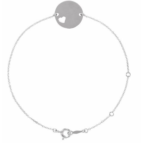 Pierced Heart Engravable Disc Bracelet