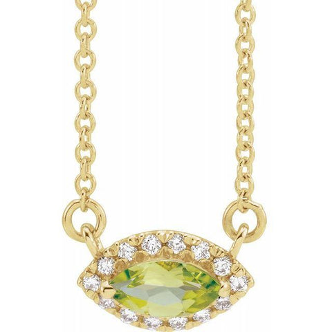 "Peridot & Diamond Halo .06 ctw Necklace 18"" - Henry D Jewelry"