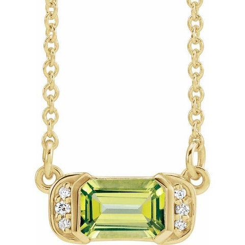 "Peridot & Diamond Bar .02 ctw Necklace 16"" - Henry D Jewelry"