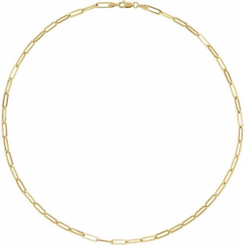 Elongated Flat Link Chain - 18K Yellow Gold Plated Sterling Silver