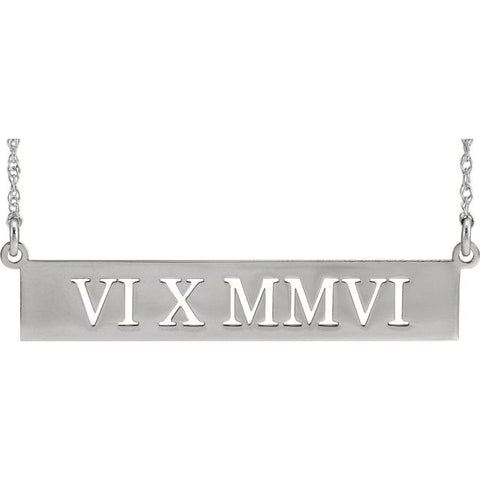 Pierced Roman Numeral Date Bar Necklace