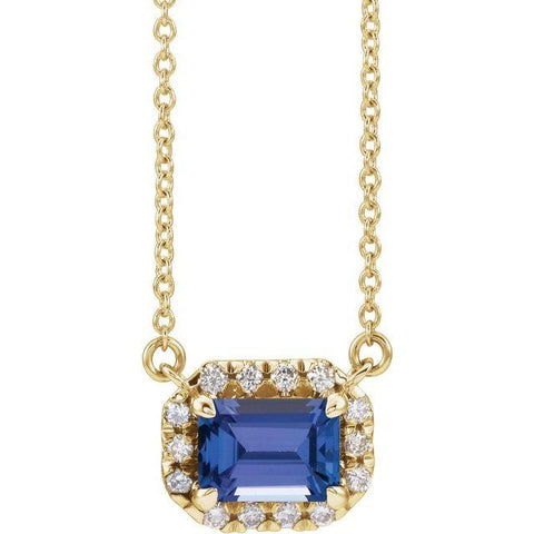 "Tanzanite & Diamond Halo 1/8 ctw Necklace 18"" - Henry D Jewelry"