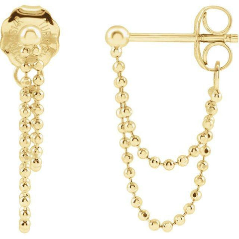 Front to Back Bead Chain Earrings - 14K Yellow Gold