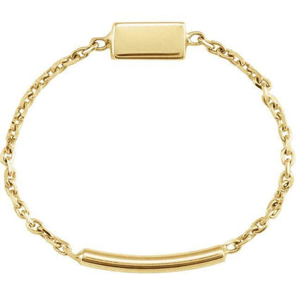 Bar Chain Ring - 14K Yellow Gold - Henry D