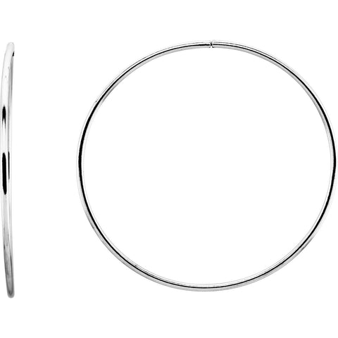 Endless Hoop Tube Earrings 75mm - Sterling Silver