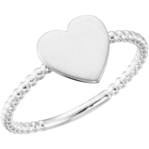 Be Posh® Heart Engravable Beaded Ring - Henry D