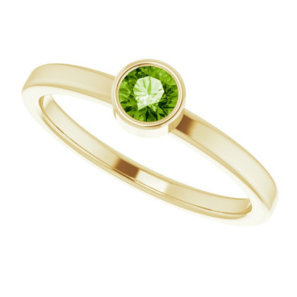 Peridot Bezel-Set Stackable Ring - 14K Yellow Gold