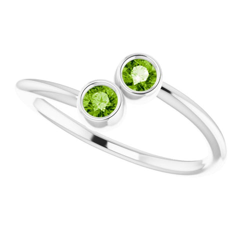 Peridot Bezel-Set Ring - 14K White Gold