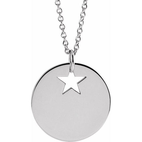 Pierced Star Engravable Disc Necklace