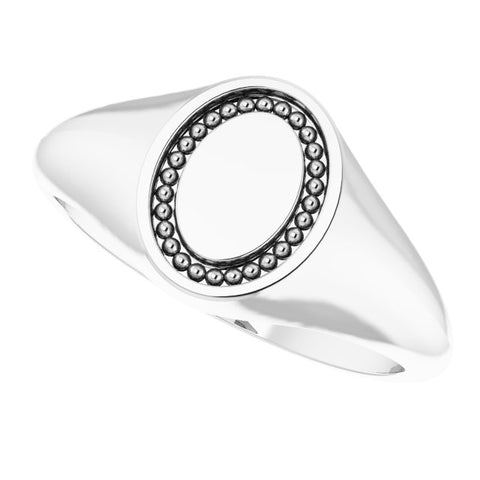 Engravable Oval Beaded Signet Ring