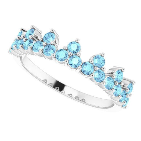 Aquamarine Crown Ring - 14K White Gold - Henry D
