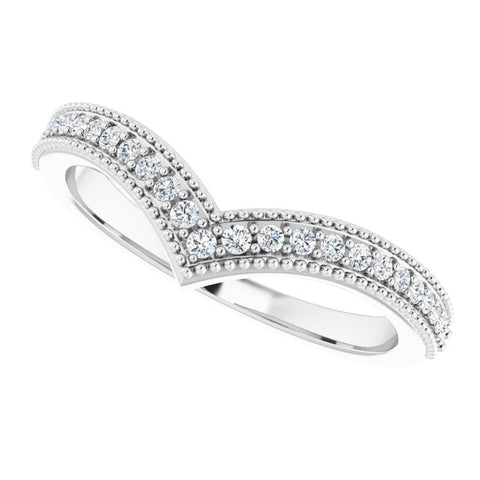 Diamond Stackable V Ring 1/6 ctw