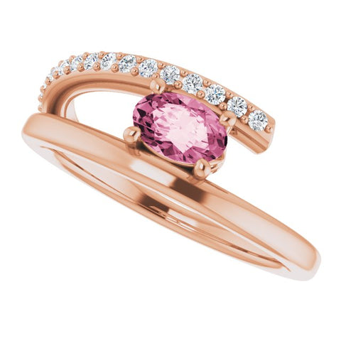Pink Tourmaline & Diamond Bypass Ring 1/8 ctw - 14K Rose Gold