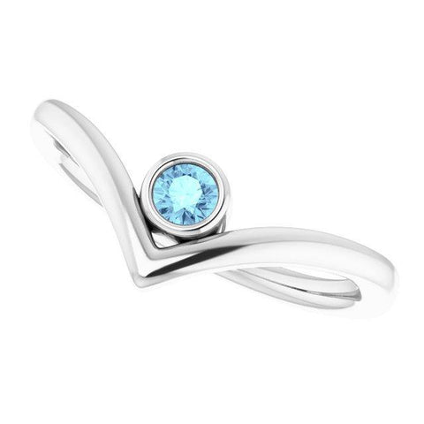 Aquamarine Bezel-Set Solitaire V Ring - 14K White Gold - Henry D