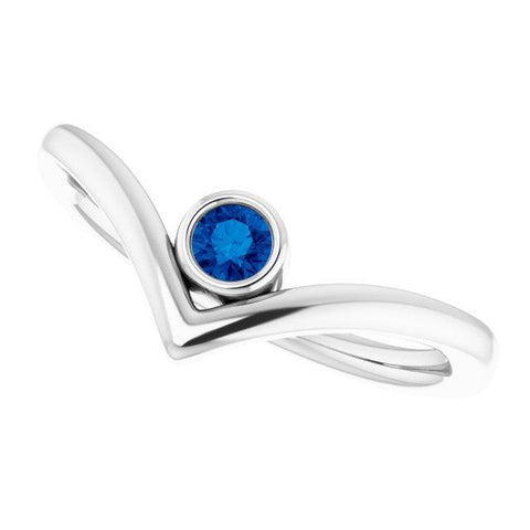 Blue Sapphire Solitaire Bezel-Set V Ring - Henry D Jewelry