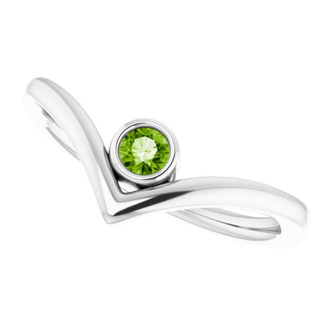 Peridot Solitaire Bezel-Set V Ring - 14K White Gold