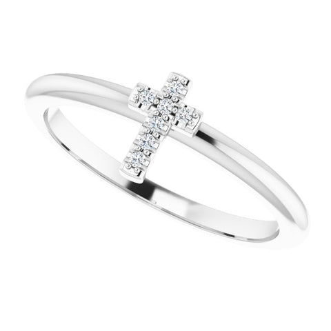 Diamond Cross Stackable Ring .03 ctw