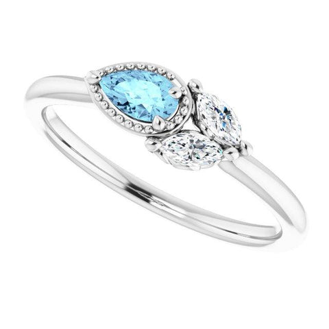 Aquamarine & Diamond Ring 1/8 ctw - Henry D Jewelry