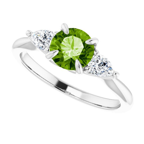 Peridot & Diamond Ring 1/4 ctw