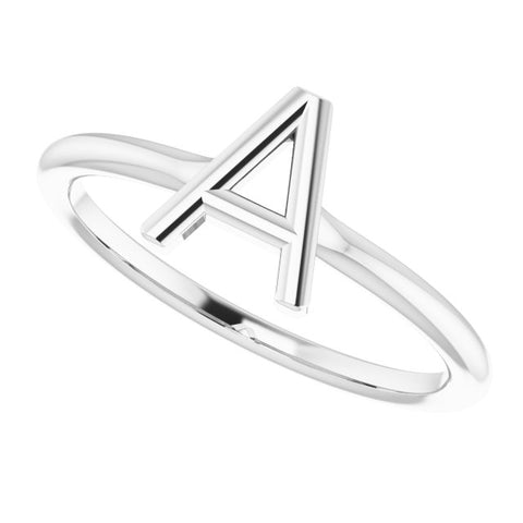 Initial Ring - 14K White Gold