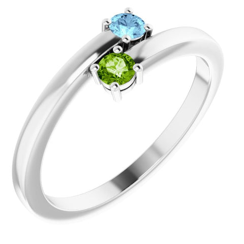 Engravable 2 Stone Family Ring - Sterling Silver
