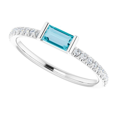 London Blue Topaz & Diamond Ring 1/6 ctw