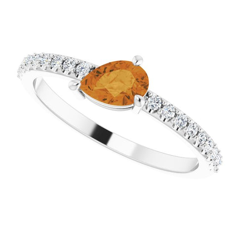 Citrine & Diamond Ring 1/6 ctw - 14K White Gold