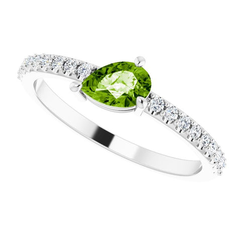 Peridot & Diamond Ring 1/6 ctw