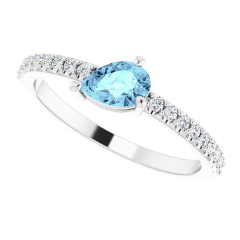 Aquamarine & Diamond Ring 1/6 ctw - Henry D