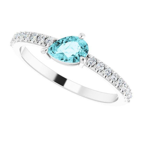 Blue Zircon & Diamond Ring 1/6 ctw - 14K White Gold