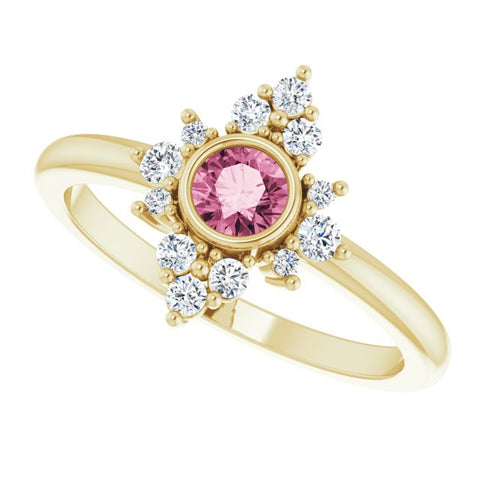 Pink Tourmaline & Diamond Ring 1/5 ctw - 14K Yellow Gold
