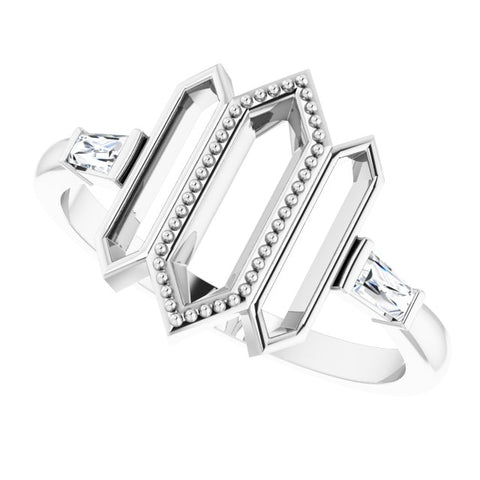 Geometric Diamond Ring 1/8 ctw