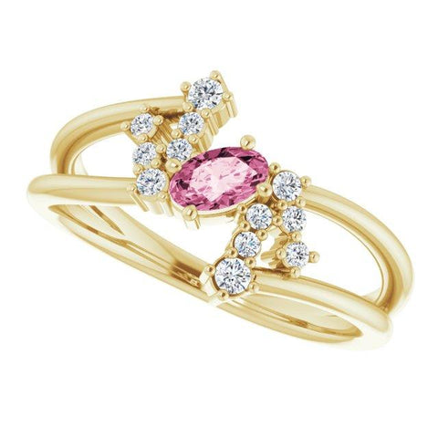 Pink Tourmaline & Diamond Bypass Ring 1/8 ctw - Henry D Jewelry