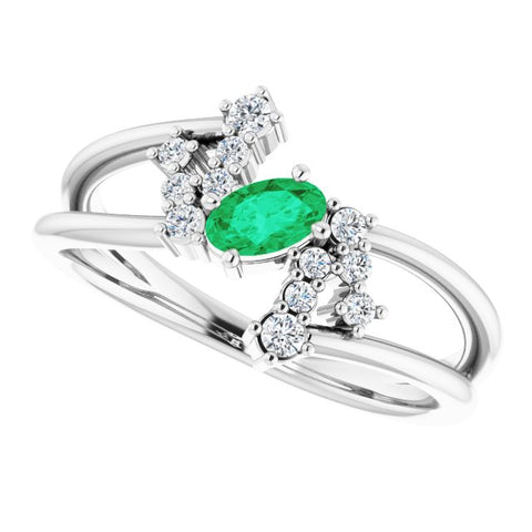 Emerald & Diamond Bypass Ring 1/8 ctw - 14K White Gold