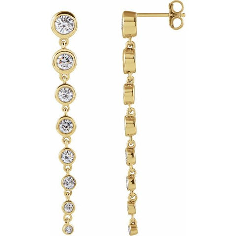 Lab-Grown Diamond Dangle Earrings 1 3/4 ctw