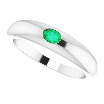 Emerald Petite Dome Ring