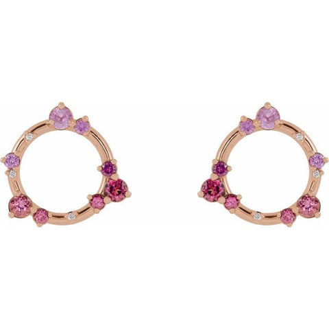 Multi Gemstone & Diamond Earrings .03 ctw - 14K Rose Gold