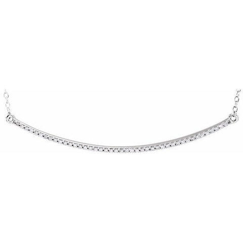 "Diamond Curved Bar Necklace 1/6 ctw 16-18"" - Henry D Jewelry"
