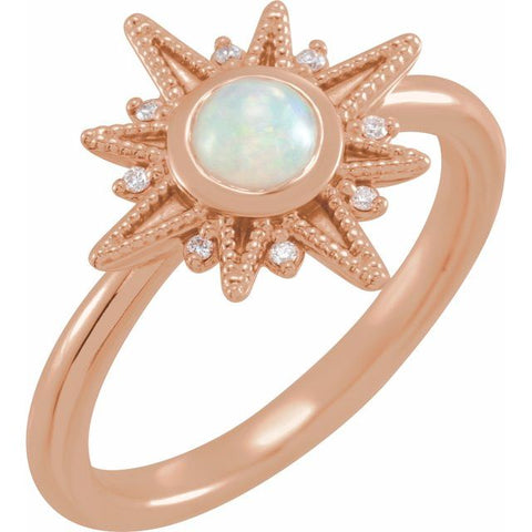 Ethiopian Opal & Diamond Ring .03 ctw