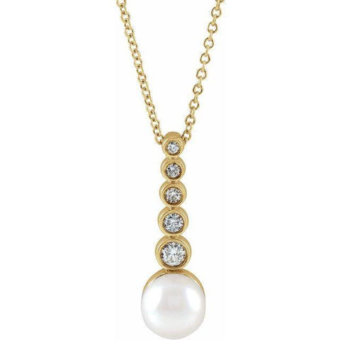 "Akoya Pearl & Diamond Necklace 1/8 ctw 16-18"" - Henry D"