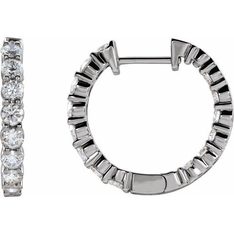 Lab-Grown Diamond Inside-Outside Hoop Earrings 1 ctw