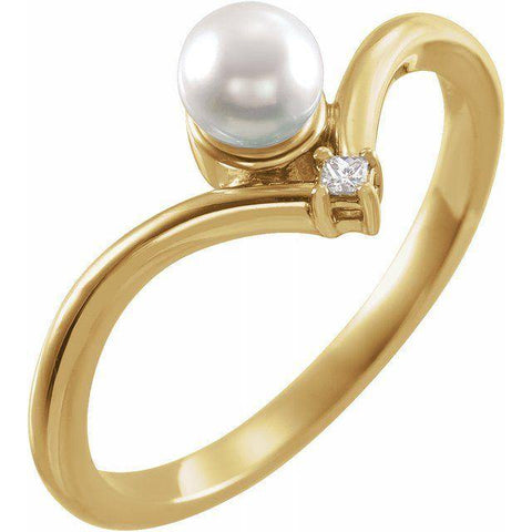 Akoya Pearl & Diamond Ring .03 ctw - 14K Yellow Gold - Henry D