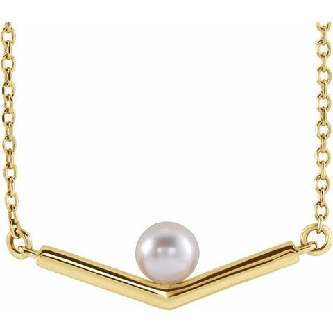 "Akoya Pearl 4mm ""V"" Necklace 18"" - Henry D Jewelry"
