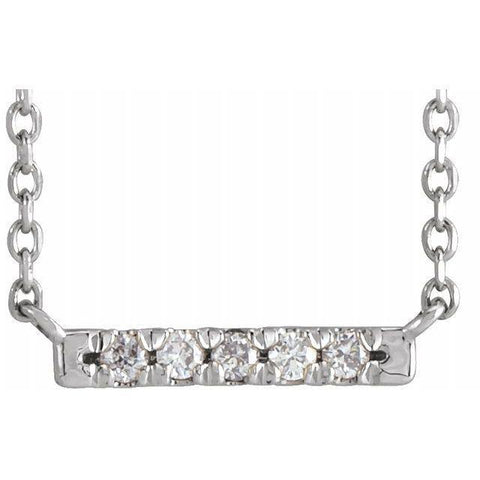 5 Stone Diamond Bar Necklace .07 ctw 18""