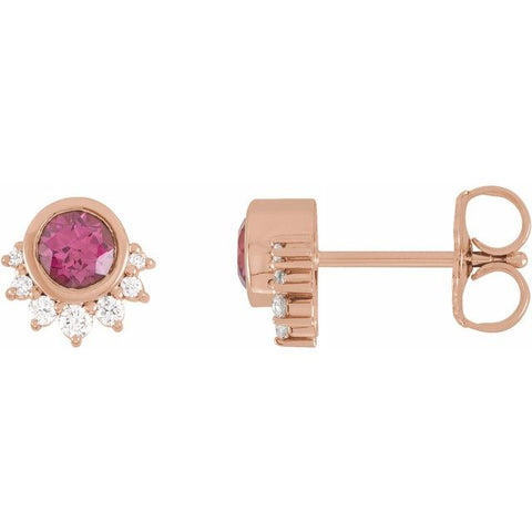 Rhodolite Garnet & Diamond Earrings .08 ctw - 14K Rose Gold