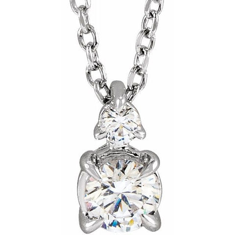 Lab-Grown Diamond Claw-Prong Solitaire Necklace 1/2 ctw 16-18""