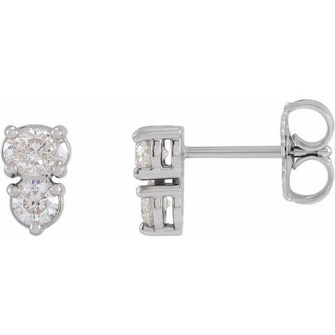 Two-Stone Diamond Earrings 1/2 ctw