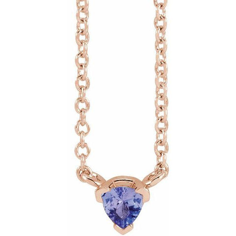 "Tanzanite Trillion Necklace 16"" - Henry D Jewelry"