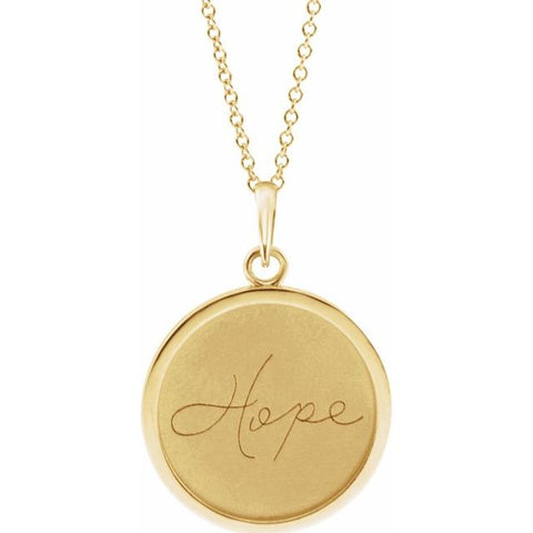 Hope Engraved Disc Necklace - 14K Yellow Gold