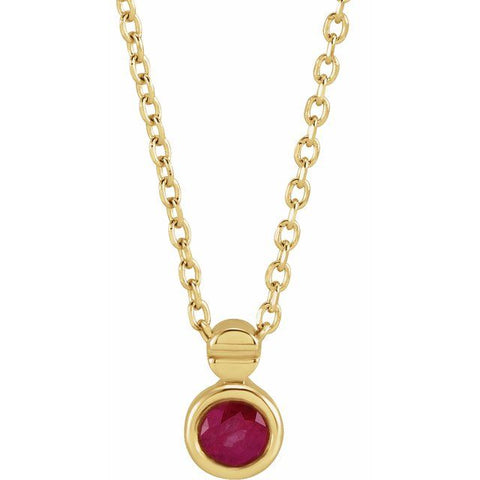 "Ruby Solitaire Necklace 16-18"" - 14K Yellow Gold"